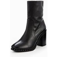 V by Very Stone High Ankle Leather Studded Boots - Black, Black, Size 8, Women