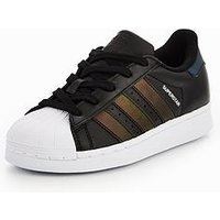 adidas Originals Adidas Originals Superstar Childrens Trainer, Black/Iredescent, Size 11