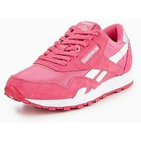 Reebok Classic Nylon Junior Trainer, Pink, Size 5