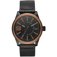Diesel Rasp Copper IP Black Leather Strap Mens Watch, One Colour, Men