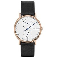 Skagen Skagen Signatur Rose Gold IP Case Black Leather Strap Men's Watch, One Colour, Men