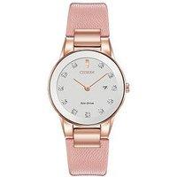 Citizen Citizen Eco-Drive Axiom Diamond Pink Leather Strap Ladies Watch, One Colour, Women