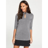 V by Very Keyhole High Neck Detail Top - Grey Marl, Grey Marl, Size 8, Women