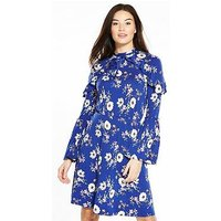 V by Very Ruffle Detail High Neck Dress, Floral Print, Size 14, Women