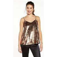 V by Very Sequin Swing Cami, Rose Gold, Size 24, Women