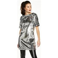 V by Very Sequin Tunic, Silver, Size 16, Women