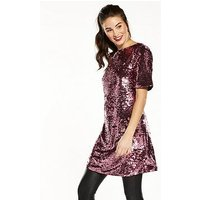 V by Very Sequin Tunic, Pink, Size 22, Women