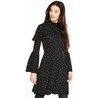 V by Very Ruffle Detail High Neck Dress, Spot Print, Size 22, Women