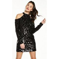 V by Very Cold Shoulder Sequin Tunic Dress, Black, Size 14, Women