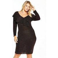 V by Very Curve Lurex Ruffle Bodycon Dress - Bronze, Bronze, Size 22, Women