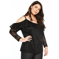 V by Very Curve Cold Shoulder Lace Top, Black, Size 28, Women