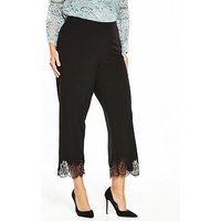V by Very Curve Lace Hem Cropped Trouser - Black, Black, Size 26, Women