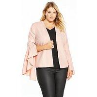 V by Very Curve Statement Sleeve Blazer - Blush, Blush, Size 18, Women