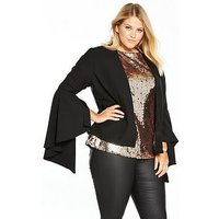V by Very Curve Statement Sleeve Blazer, Black, Size 22, Women