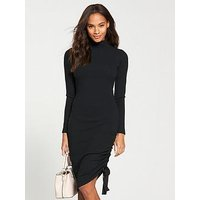 V by Very Roll Neck Drawstring Midi Dress - Black, Black, Size 18, Women