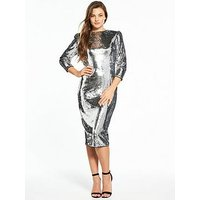 V by Very Sequin Midi Dress - Silver, Silver, Size 14, Women