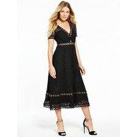 V By Very Lace Eyelet Midi Dress