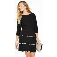 V by Very Scallop Tiered Dress, Mono, Size 16, Women