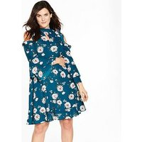 V by Very Curve Cold Shoulder Ruffle Dress, Print, Size 16, Women