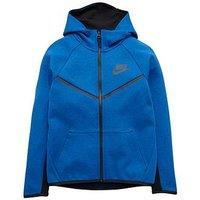 Boys, Nike OLDER BOY TECH FLEECE FZ HOODY, Blue, Size S=8-10 Years