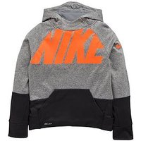 Boys, Nike OLDER BOY THERMA OTH HOODY, Dark Grey/Orange, Size M=10-12 Years
