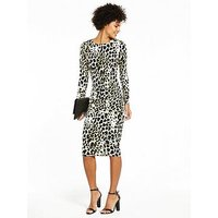 V by Very Jersey Printed Midi Dress - Animal Print, Animal Print, Size 22, Women