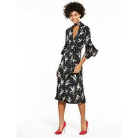 V by Very Jersey Choker Fluted Sleeve Dress, Bird Print, Size 14, Women