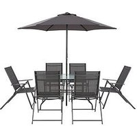 Hawaii 8-Piece Outdoor Dining Set - Gunmetal Grey