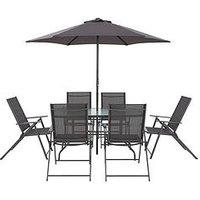 Product photograph showing Hawaii 8-piece Outdoor Dining Set - Gunmetal Grey