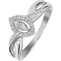 Love DIAMOND Sterling Silver 16 Points White Diamond Marquis Ring with Twist Shoulder Detail, One Colour, Size N, Women