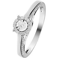 Love DIAMOND 9ct White Gold 25 Points White Diamond Ring with Shoulder Detail, One Colour, Size N, Women