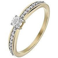 Love DIAMOND 9ct Yellow Gold 32 Points White Diamond Solitaire Engagement Ring with Diamond Set Shoulders, One Colour, Size L, W
