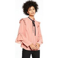 V by Very Contrast Tie Ruffle Blouse, Blush, Size 16, Women