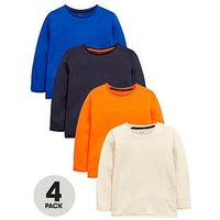 Mini V by Very Boys 4 Pack Roll Edge Long Sleeve Tshirts, Multi, Size Age: 18-24 Months