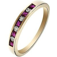 Love GEM 9ct Yellow Gold Ruby and Diamond Set Eternity Ring, One Colour, Size R, Women