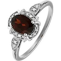 Love GEM Sterling Silver Oval Garnet and White Diamond Ring, One Colour, Size L, Women