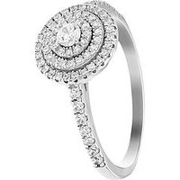 The Love Silver Collection Sterling Silver Cubic Zirconia Halo Cluster Ring, One Colour, Size L, Women