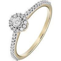 Love DIAMOND 9ct Yellow Gold 23 Points White Diamond Halo Ring with Diamond Set Shoulders, One Colour, Size N, Women