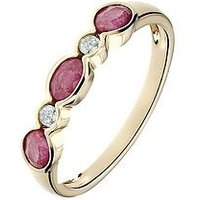 Love GEM 9ct Yellow Gold Ruby and Diamond 5 Stone Ring, One Colour, Size L, Women