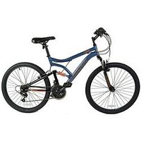 Muddyfox Heist Dual Suspension Mens Mountain Bike 18 Inch Frame, Grey/orange, Men