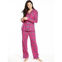 V by Very Check Long Sleeved Flannel Pyjama Set, Pink Multi, Size 20, Women