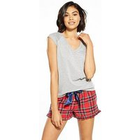 V by Very Tartan Check Fashion Short Set With T-shirt , Red, Size 16, Women