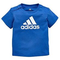 adidas Baby Boy Favourite Logo Tee, Blue, Size 3-6 Months