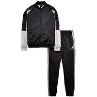 Boys, adidas Older Boy Linear Poly Tracksuit, Black, Size 7-8 Years