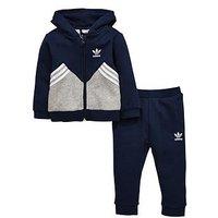 Boys, adidas Originals Adidas Originals Baby Boy Hooded Fleece Suit, Navy, Size 9-12 Months