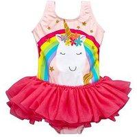 Mini V by Very Girls Unicorn Tutu Swimsuit, Pink, Size Age: 3-6 Months, Women