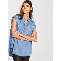 Replay Sleeveless Denim Shirt - Light Blue, Light Wash, Size Xs, Women