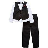 Mini V by Very Boys 4pc Textured Occasion Set, Black/White, Size Age: 4-5 Years