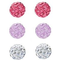 The Love Silver Collection Sterling silver 4mm crystal glitterball set of 3 earrings, One Colour, Women