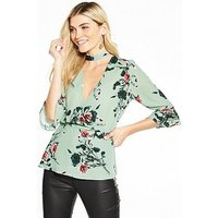 V by Very Printed Choker Blouse, Floral Print, Size 16, Women